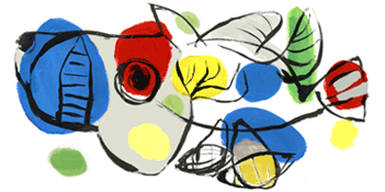 Google Logo: Karel Appel's 90th birthday - Dutch painter, sculptor, and poet