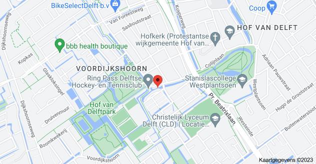 Kaart van Waterloop 6, 2614 XC Delft