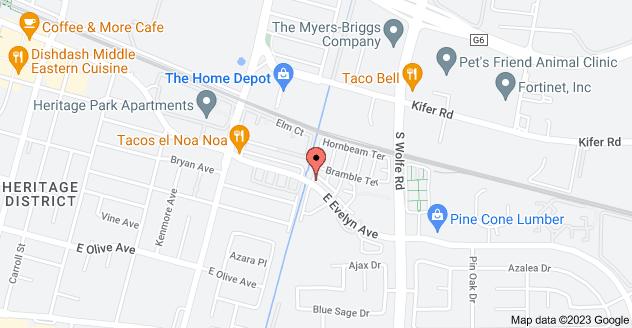 Map of 701 E Evelyn Ave, Sunnyvale, CA 94086, USA