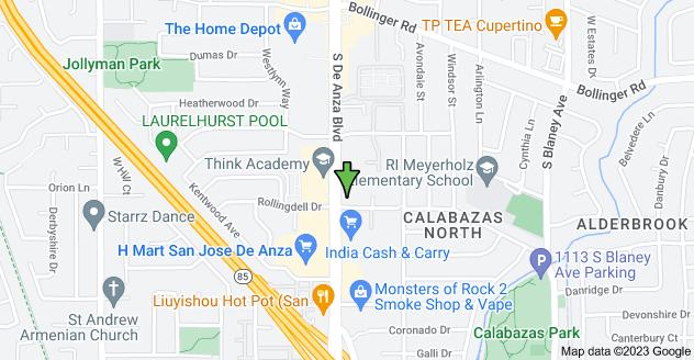 Map of 1090 S De Anza Blvd, San Jose, CA 95129, USA