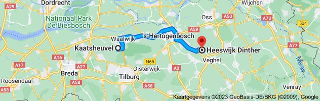 Kaart van Kaatsheuvel naar Heeswijk Dinther
